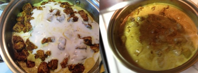 adding-coconut-milk-to-Mango-Chicken