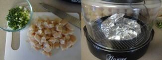diced-cut-chicken-breast-and-diced-green-onions-and-heating-tortillas