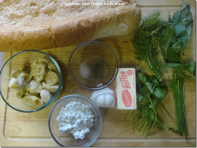 Ingredients for Artichock GoatCheese Garlic Bread