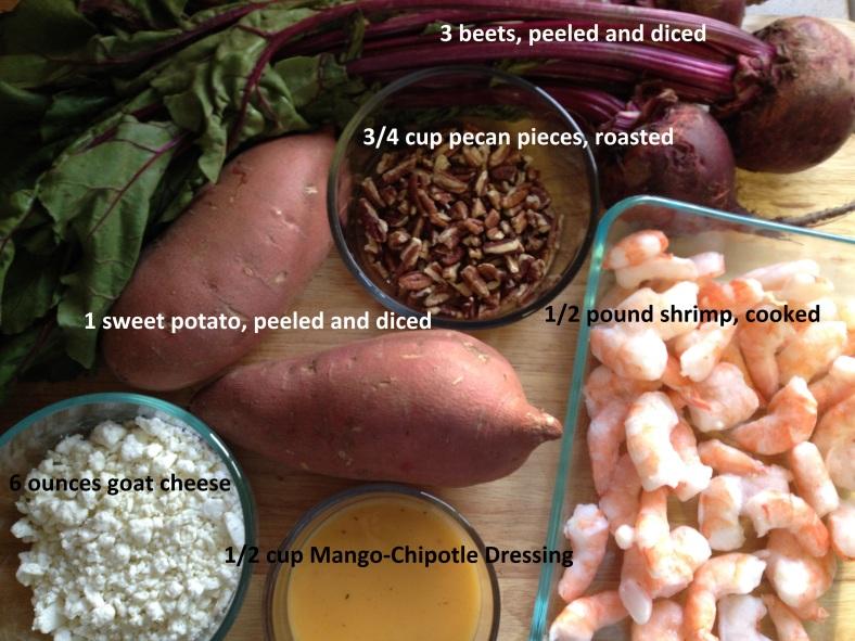 Roasted Beet, Sweet Potato, Mixed Greens and Shrimp Salad
