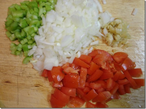 chopped tomatoes, onion, celery and garlic
