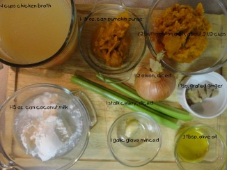 Ingredients for Coconut and Butternut Sqaush  soup