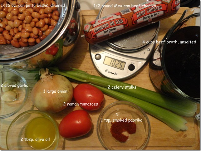 ingredients for Spicy Chorizo and Bean Soup