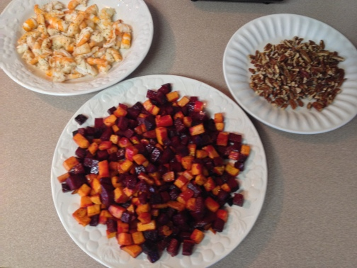 Mixings for the Roasted Beet, Sweet Potato, Mixed Greens and Shrimp Salad