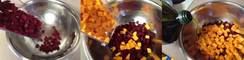 preparing to mix root vegetables to roast