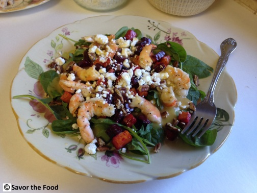 Roasted Beet, Sweet Potato, Mixed Greens and Shrimp Salad
