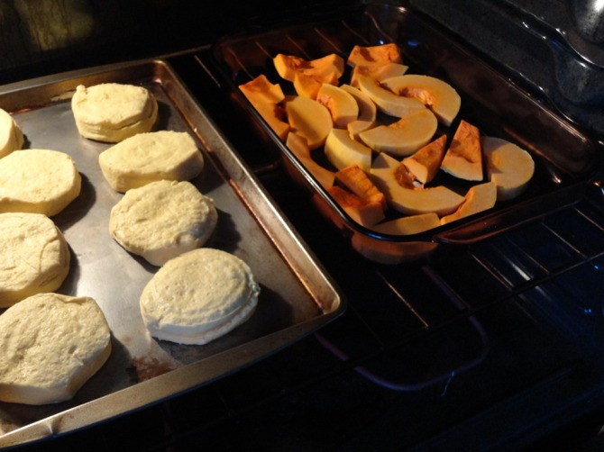 roasting butternut sqaush while baking biscuts