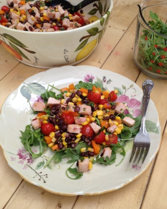 Smoked Turkey, Black Bean, Bell Pepper and Corn Salad