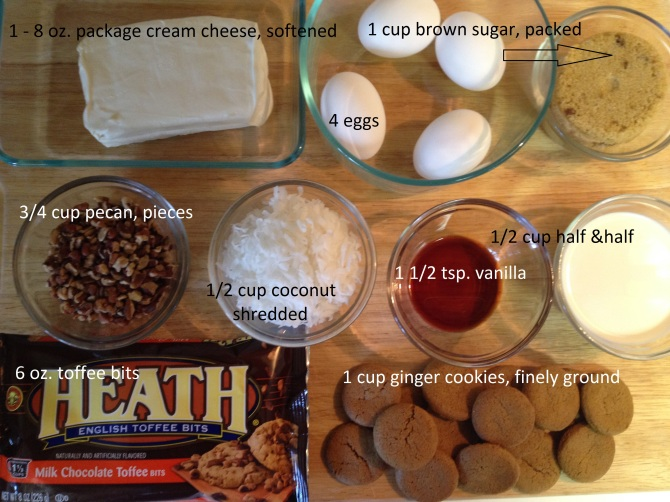 Ingredients for Peach Pecan cake