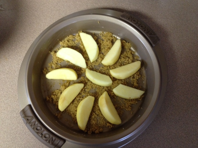 arrange sliced apples in prepared pan in a concentric circle