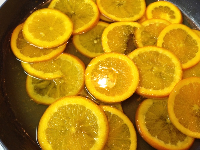 Candied oranges for the Orange Almond Cake