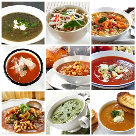 Collage of Prepared soups