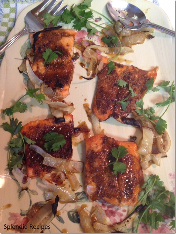 Indian Spiced Salmon on a dinner plater