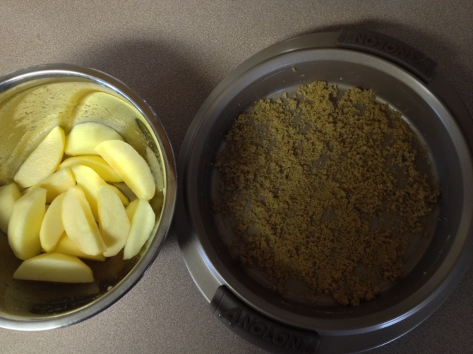 prepare pan and apples