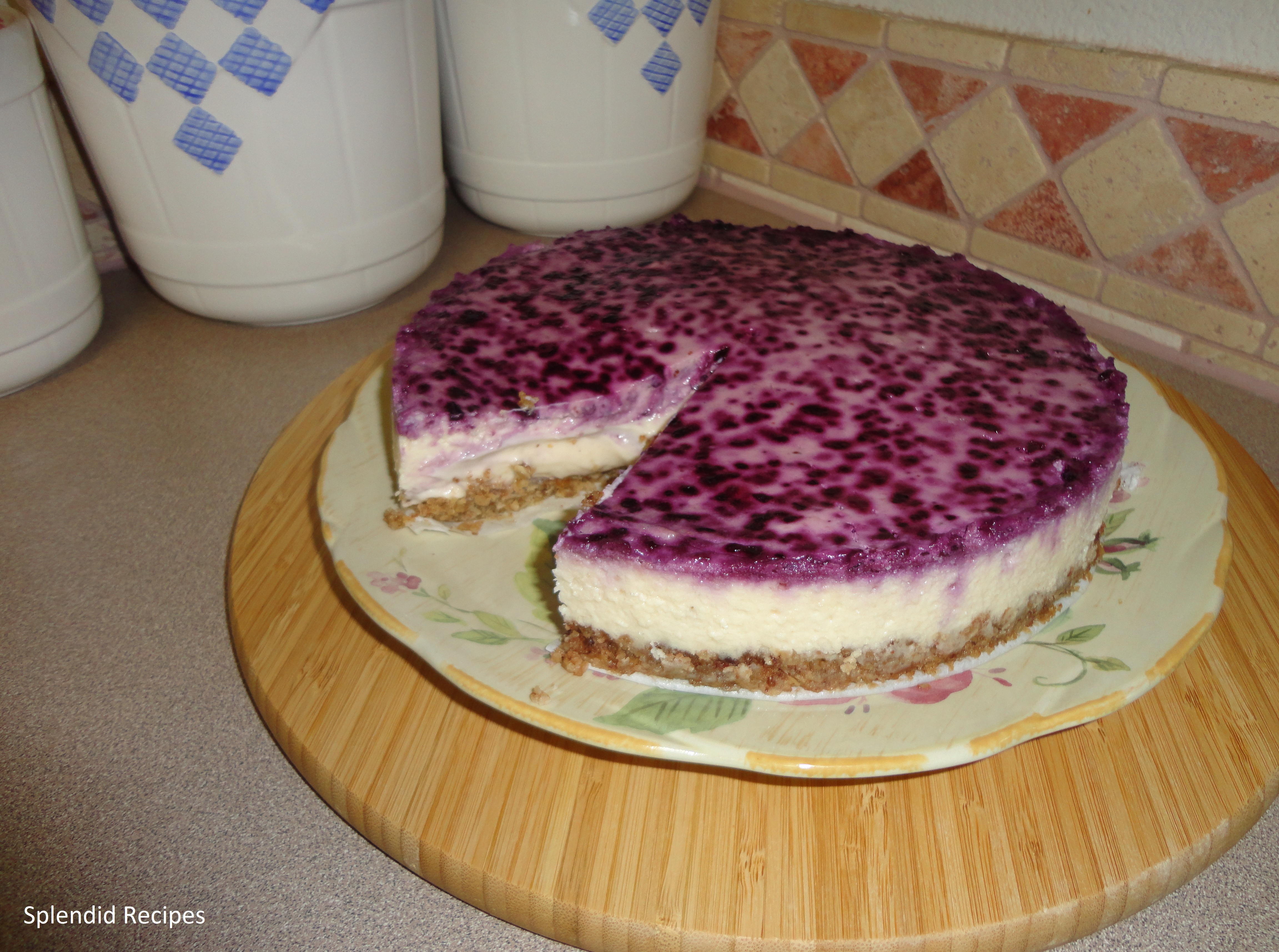 Sour Cream Blueberry Banana Cheesecake | Splendid Recipes and More