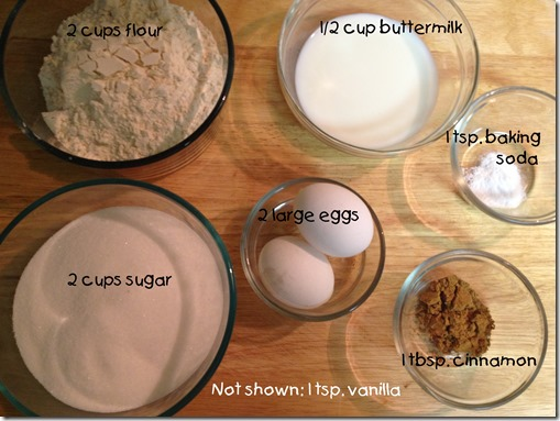 2nd ingredients for the Chococlate Mexican Coffee Cake