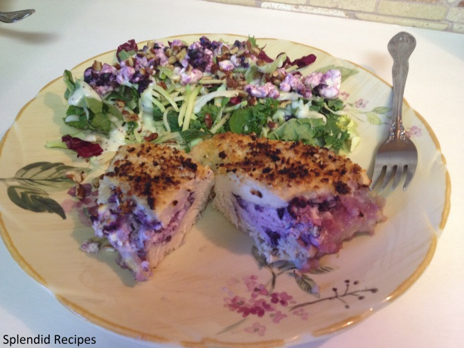 Baked Blueberry Goat Cheese Stuffed Chicken