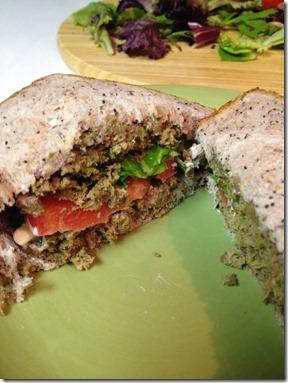 close up of prepared Green Hamburgers