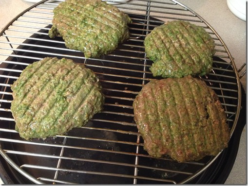 cooking Green Hamburgers