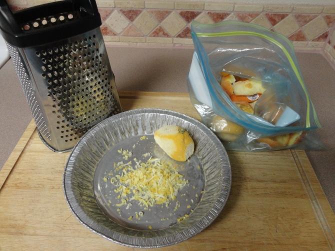 grating lemon zest