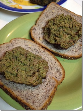 Green Hamburger sliced in half