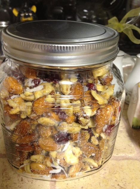 Honey Roasted Nuts packed into a Jar