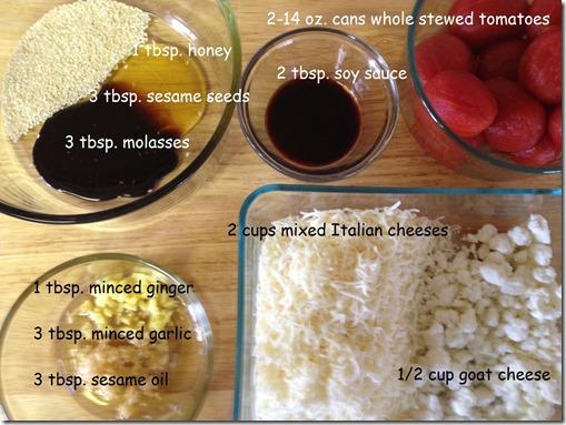 ingredients for Anti Pasta Asian Lasagna