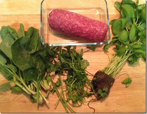 ingredients for Green Hamburgers