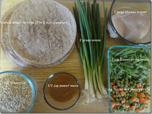ingredients for Oriental Chicken Wraps
