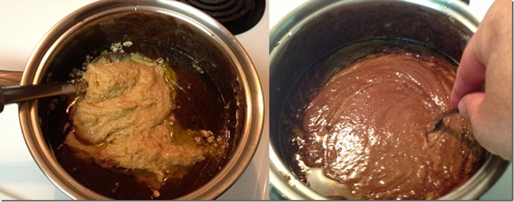 mix cake batter with coffee-chcolate mixture