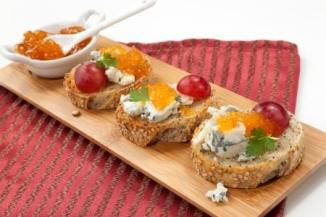 Blue Cheese and Apricot Crostini