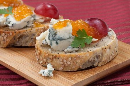 close-up of Blue Cheese and Apricot Crostini