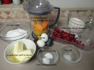 Orange Cranberry Bread  Ingredients