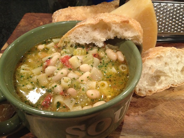 Pasta Fagioli with Crusty Italian Bread