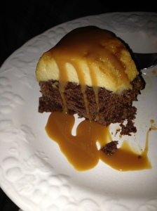 Plated Choco Flan with caramel sauce