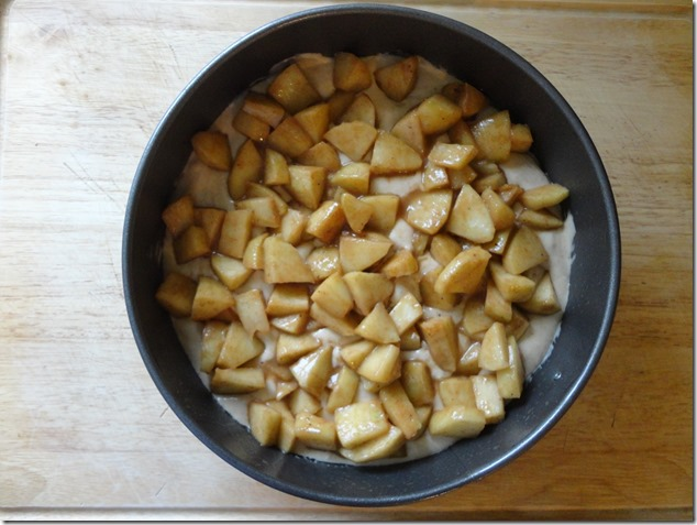 prepared Apple Spice Cake to cook