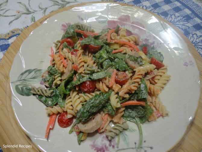 Ranch Spinach Pasta Salad with Chicken Sausage