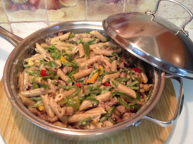 Apple Chicken Sausage with Whole Wheat Penne Pasta