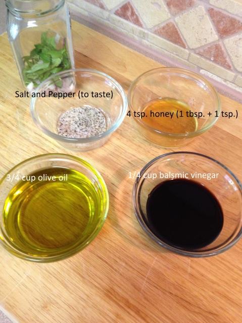 ingredients for Balsamic Honey Vinaigrette