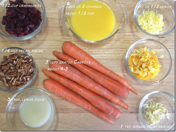 ingredients for Carrot Cranberry Salad