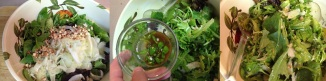 mixing salad, adding vinaigrette