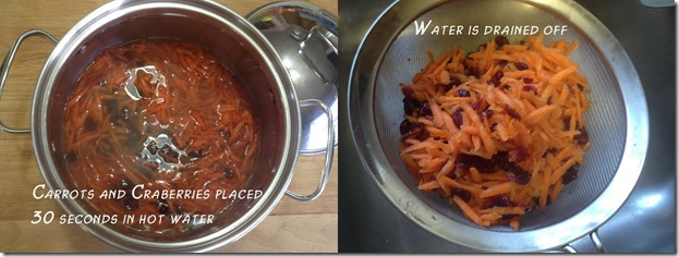 placing grated carrot and dried cranberries ini hot water