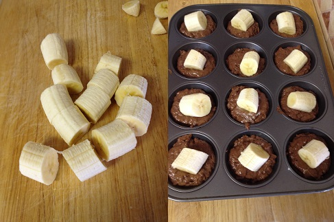 bananas cut for topping Dark Cocoa Banana Muffins