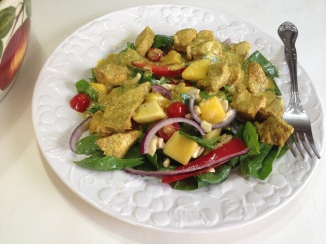 Chicken Curry with Mango and Spinach Salad...close up