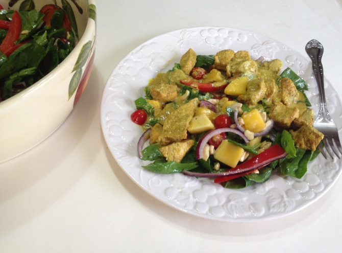 Chicken Curry with Mango and Spinach Salad