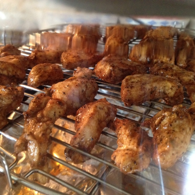 close up baking chicken in Nu wave oven for Ouinoa Maya Chicken Bake