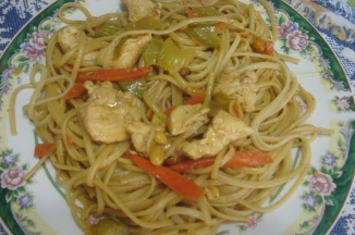 close-up of Thai Chicken with Linguini