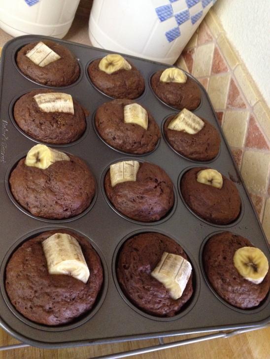 cooling Dark Cocoa Banana Muffins
