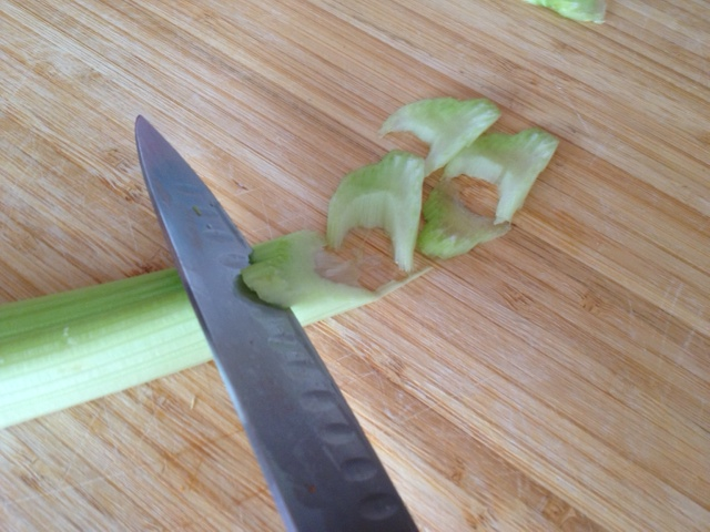cutting celery at an angle