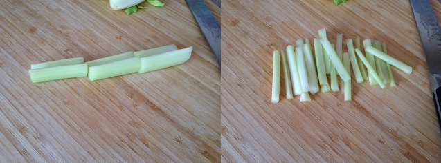 cutting celery Julianne style
